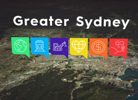 A map of Sydney with icons hovering on top