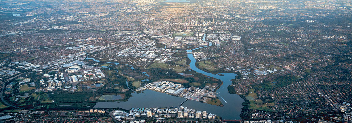Aerial view of Parramatta CBD and surrounds
