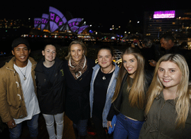 Sarah Hill and a group of young people at Vivid Sydney