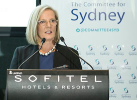 Lucy Turnbull speaking at a lectern