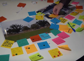 Post it notes on a table