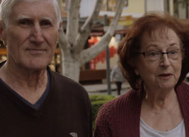An older man and woman speaking to camera in Rouse Hill