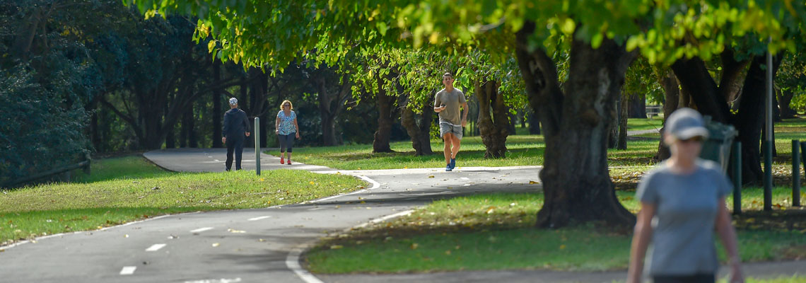People walking on a path through a leafy park