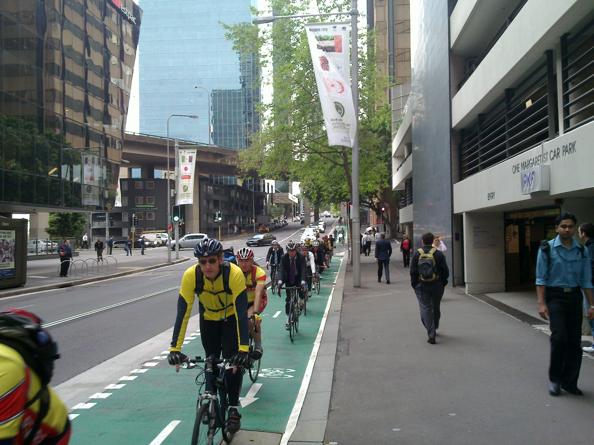 Cyclists using a cycle lane