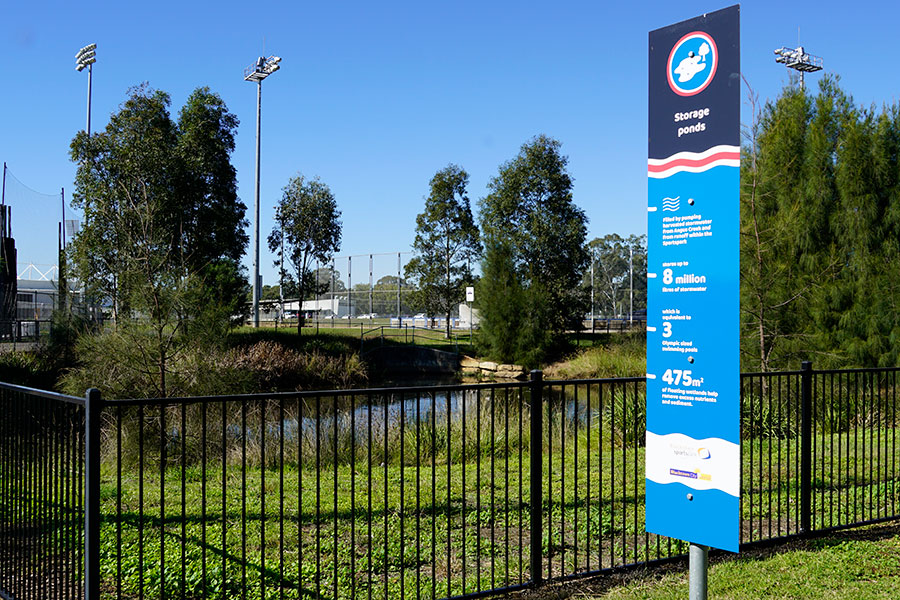 A water storage pond at the Angus Creek Stormwater Harvesting Scheme