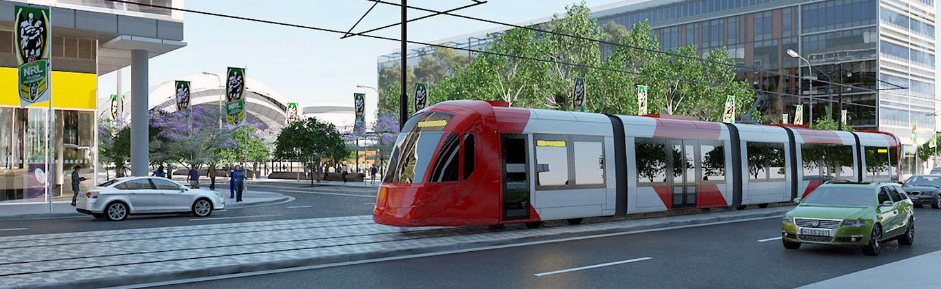 Lightrail train travelling through Sydney Olympic Park