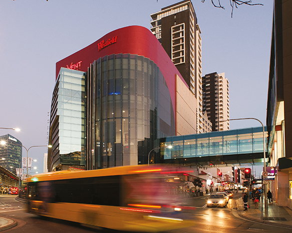 Photograph of bus passing Westfield Parramatta
