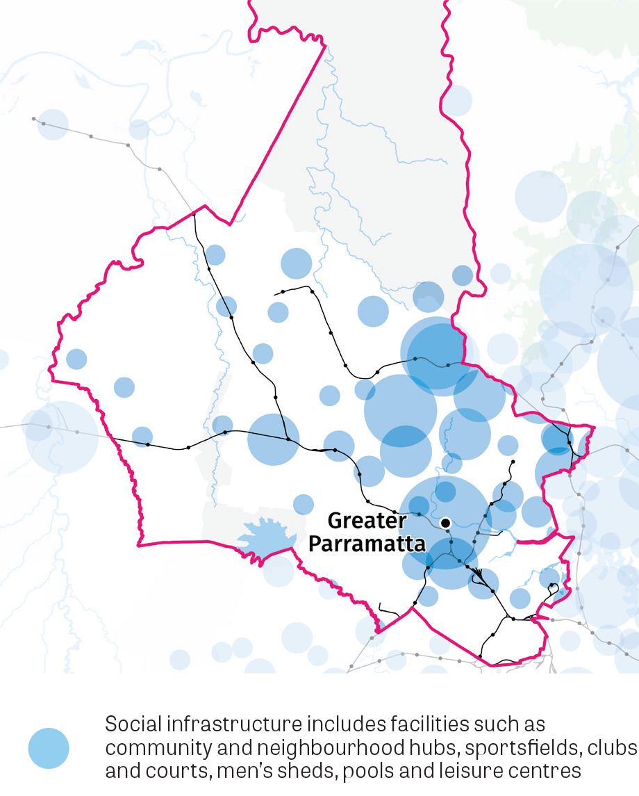 """Figure 5: Central City District social infrastructure.  This map shows centres in the district with concentrations of social infrastructure including facilities such as community and neighbourhood hubs, sportfields, clubs and courts, men's sheds"