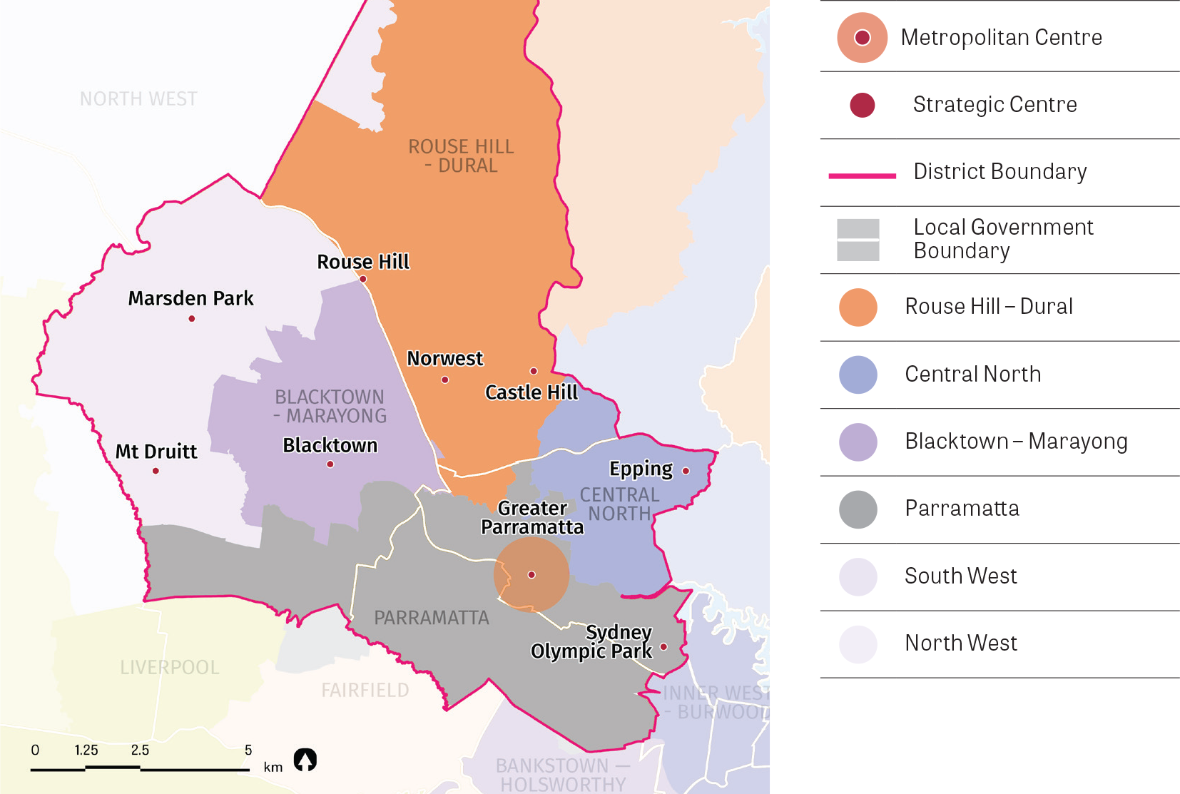 """Figure 10: Central City District housing market areas.  A map showing the district boundary and the five different housing market areas within the district. Source: Greater Sydney Commission, 2016 adapted from Implementing metropolitan planning strategie"