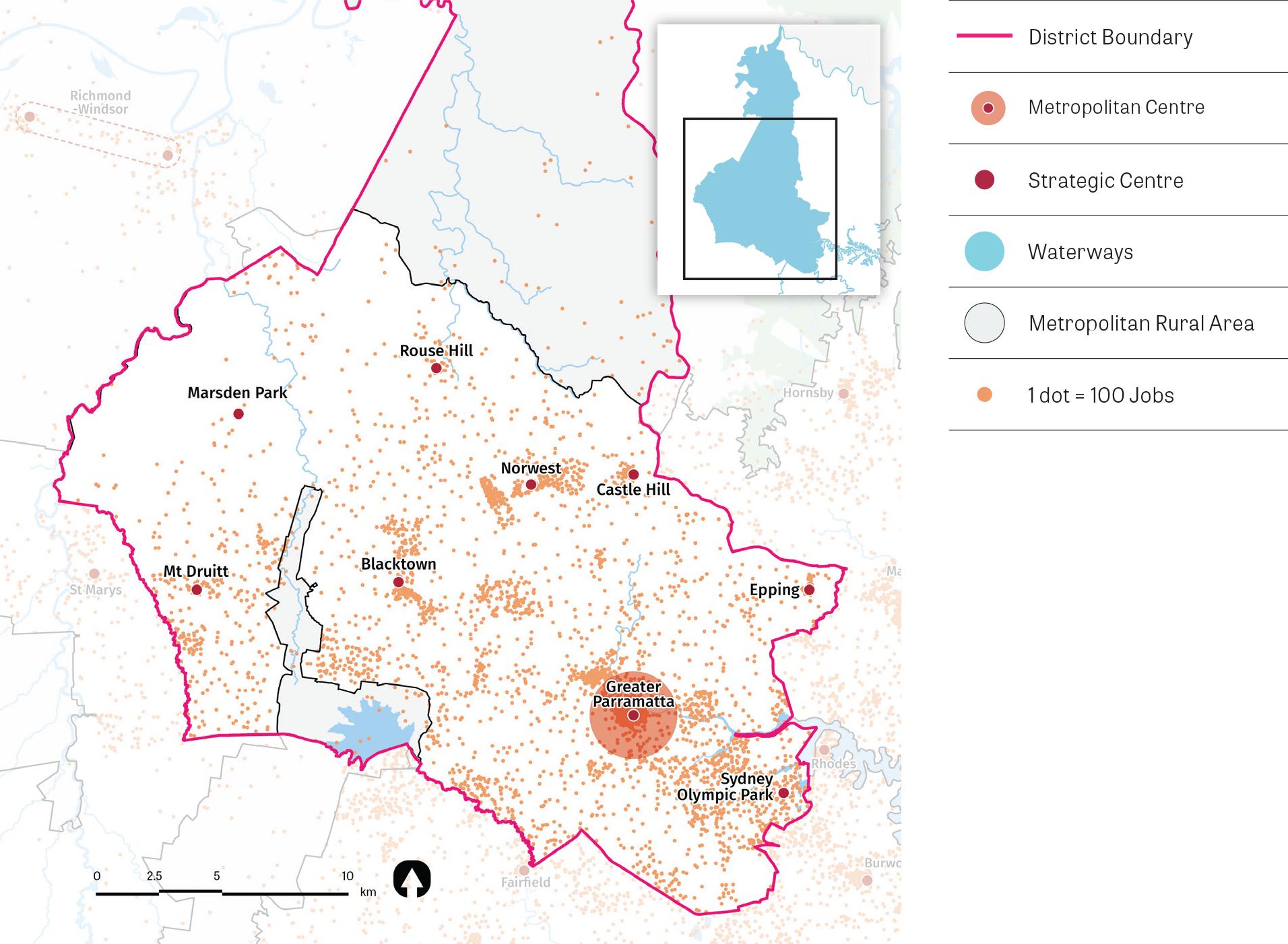 Figure 15: Central City District job density. A map showing job density within the District. The highest job concentrations are near Kogarah, Bankstown, Hurstville, Miranda, Sutherland and Campsie.
