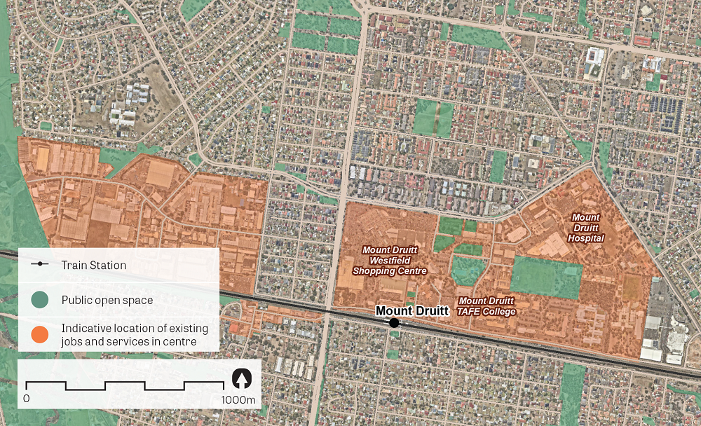 An aerial image of Mount Druitt showing the principal areas containing jobs and services. Data sources: Public open space – Sydney Open Space Audit (DPE 2016), aerial photo – Nearmap 2018.
