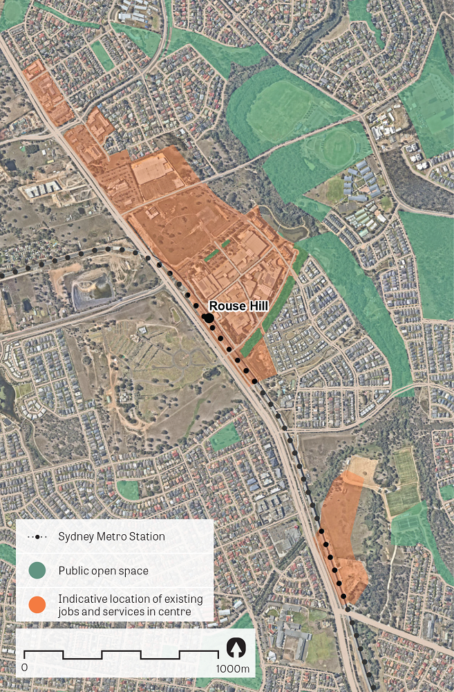 An aerial image of Rouse Hill showing the principal areas containing jobs and services. Data sources: Public open space – Sydney Open Space Audit (DPE 2016), aerial photo – Nearmap 2018.