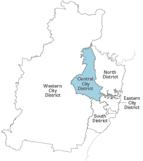 Greater Sydney Map with Central City District highlighted