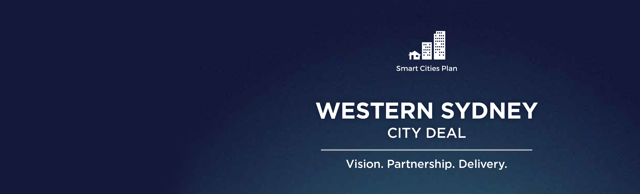 The Western Sydney City Deal logo and slogan Vision. Partnership. Delivery.