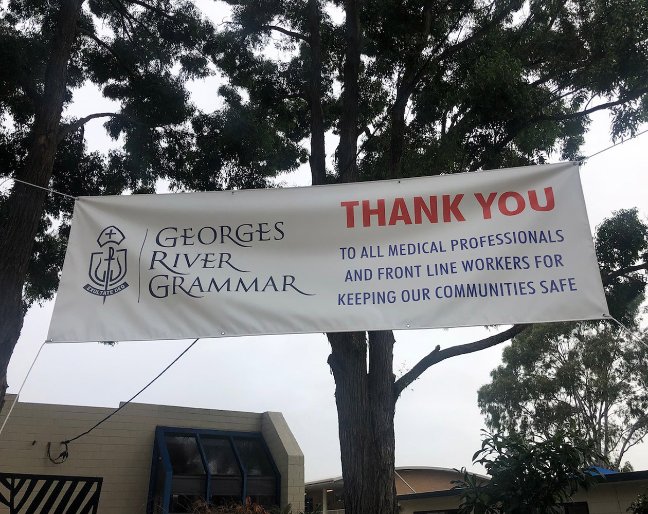 Georges River Grammar thank you sign