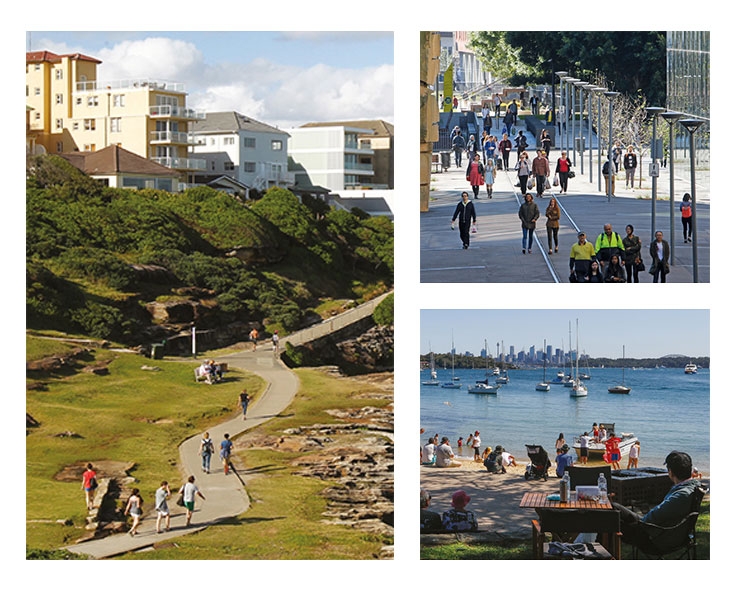 Collage of people walking through a street, on a path and a picnic by a beach