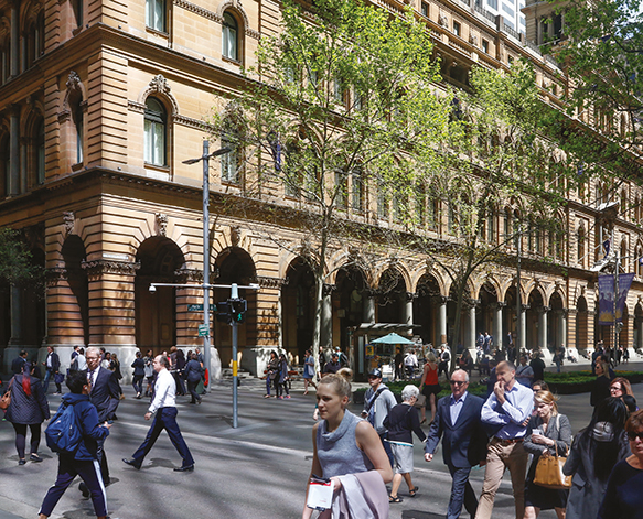 Photo of people in Martin Place and crossing Pitt Street in front of the Westin Hotel.
