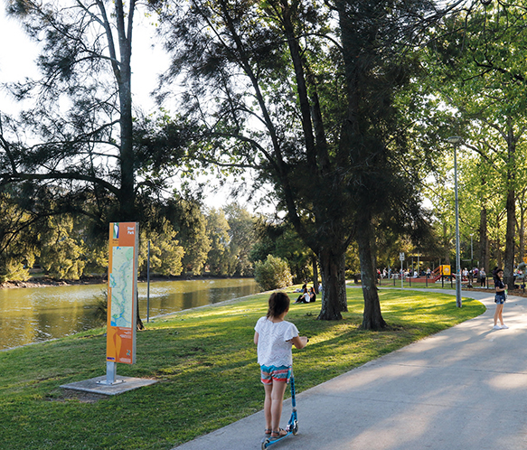 Photo of a playground on the banks of the Cooks River.