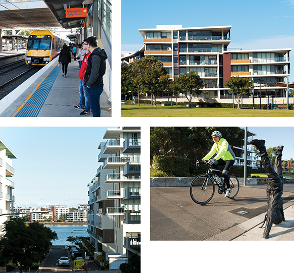 Collage - people waiting for train, apartments, cyclist riding by a sculpture in Rhodes