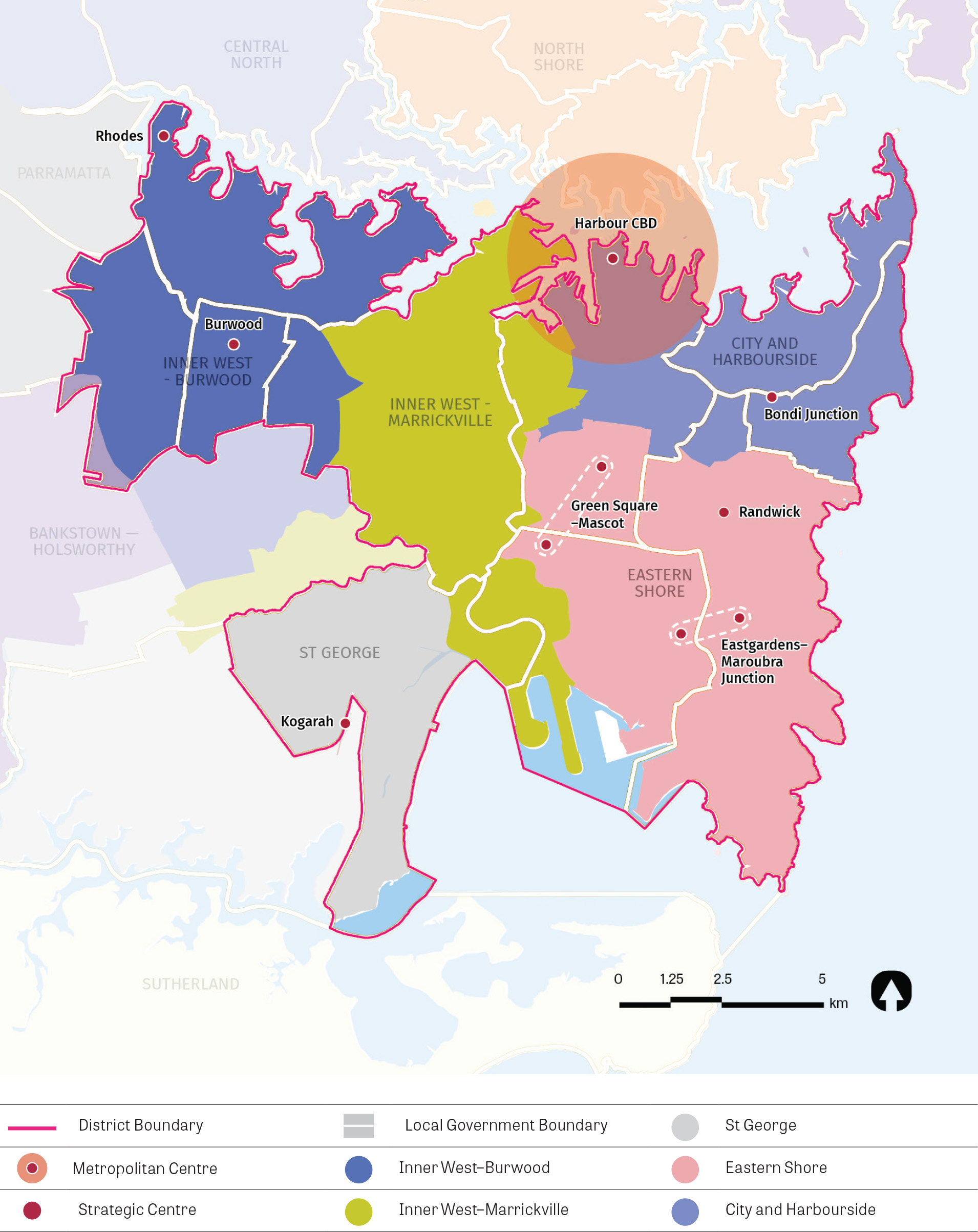 """""""Figure 10:  Eastern City District housing market areas.   A map showing the district boundary, local government area boundaries and the five different housing market areas within the district."""