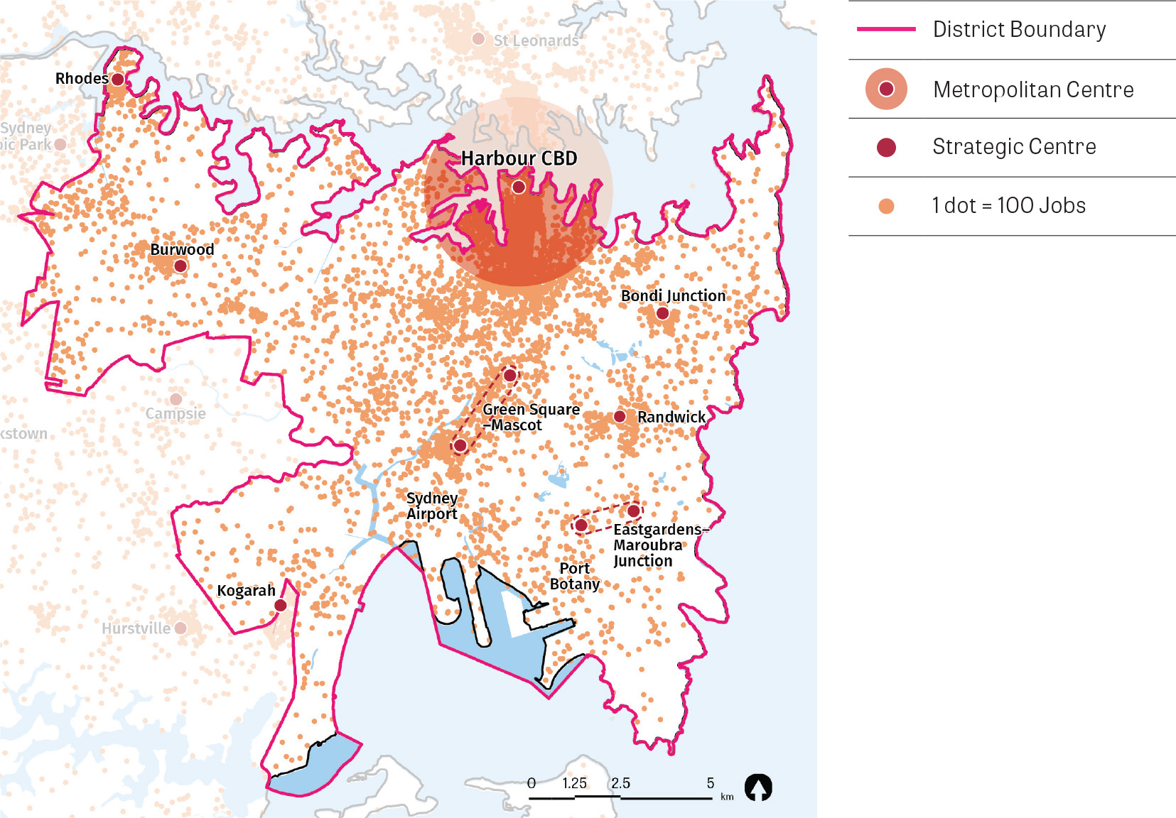 A map of the Eastern City District overlayed with Metropolitan Centres, Strategic Centres and concentration of jobs.