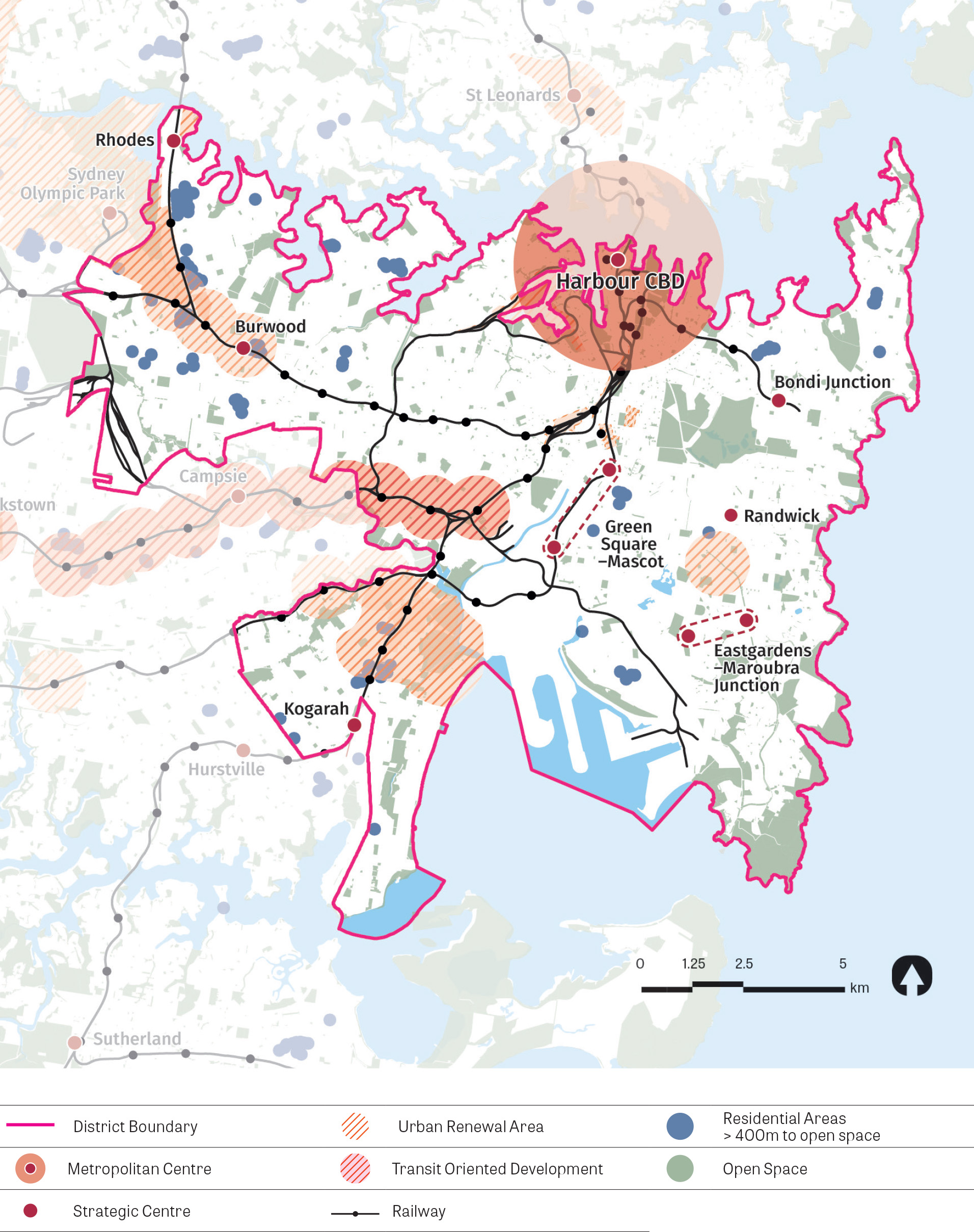 A stylised map showing access to open space in the district. The map shows residential areas greater than 400m to open space, strategic centres, infill priority precinct/urban renewal corridors, transit orientated development, railways and open space.