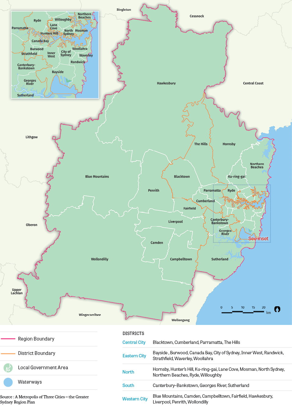 Figure 1: The geographic area that the Greater Sydney Commission Community Participation Plan applies to