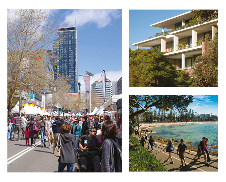 Photograph of units in Lindfield, people walking on the esplanade at Manly beach and Victoria Ave Markets in Chatswood