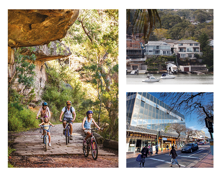Photos of a family cycling along a track in the Royal National Park; a shopping strip in Hurstville; and waterfront houses in Blakehurst.