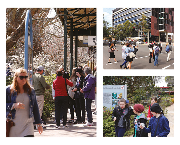 Photos a group of children in a garden in Mount Tomah, pedestrians crossing street in Penrith and a group of people on a street in Leura