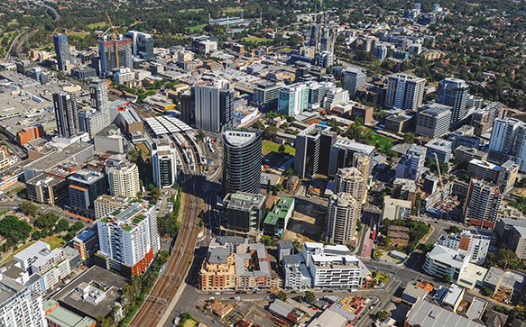 Aerial photo of Parramatta CBD including the Parramatta interchange and surrounds