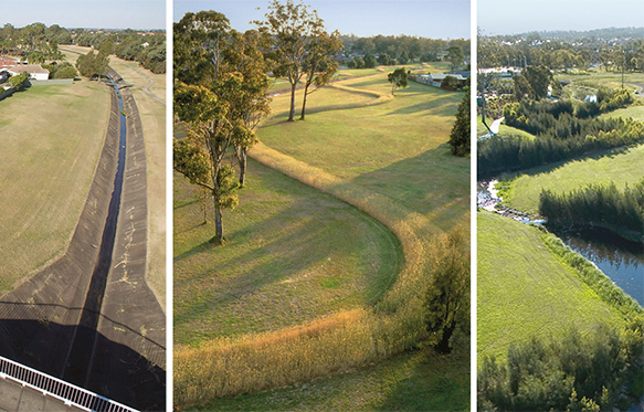 A series of three photographs showing the restoration of Clear Paddock Creek.