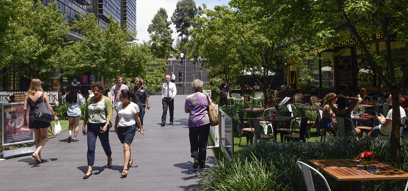 Photograph of people walking through Central Park Mall, Chippendale.