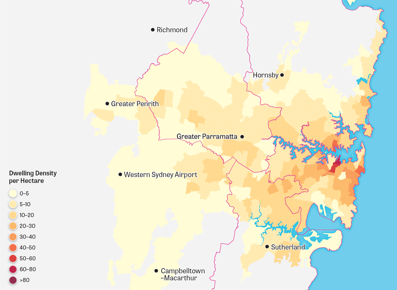 Map showing Greater Sydney's urban landform for 1996.
