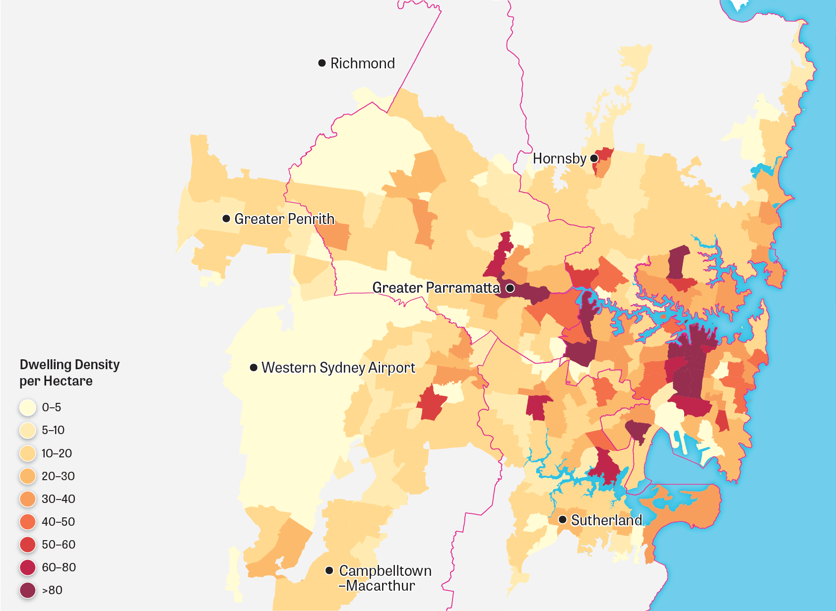 Map showing Greater Sydney's urban landform for 2016.