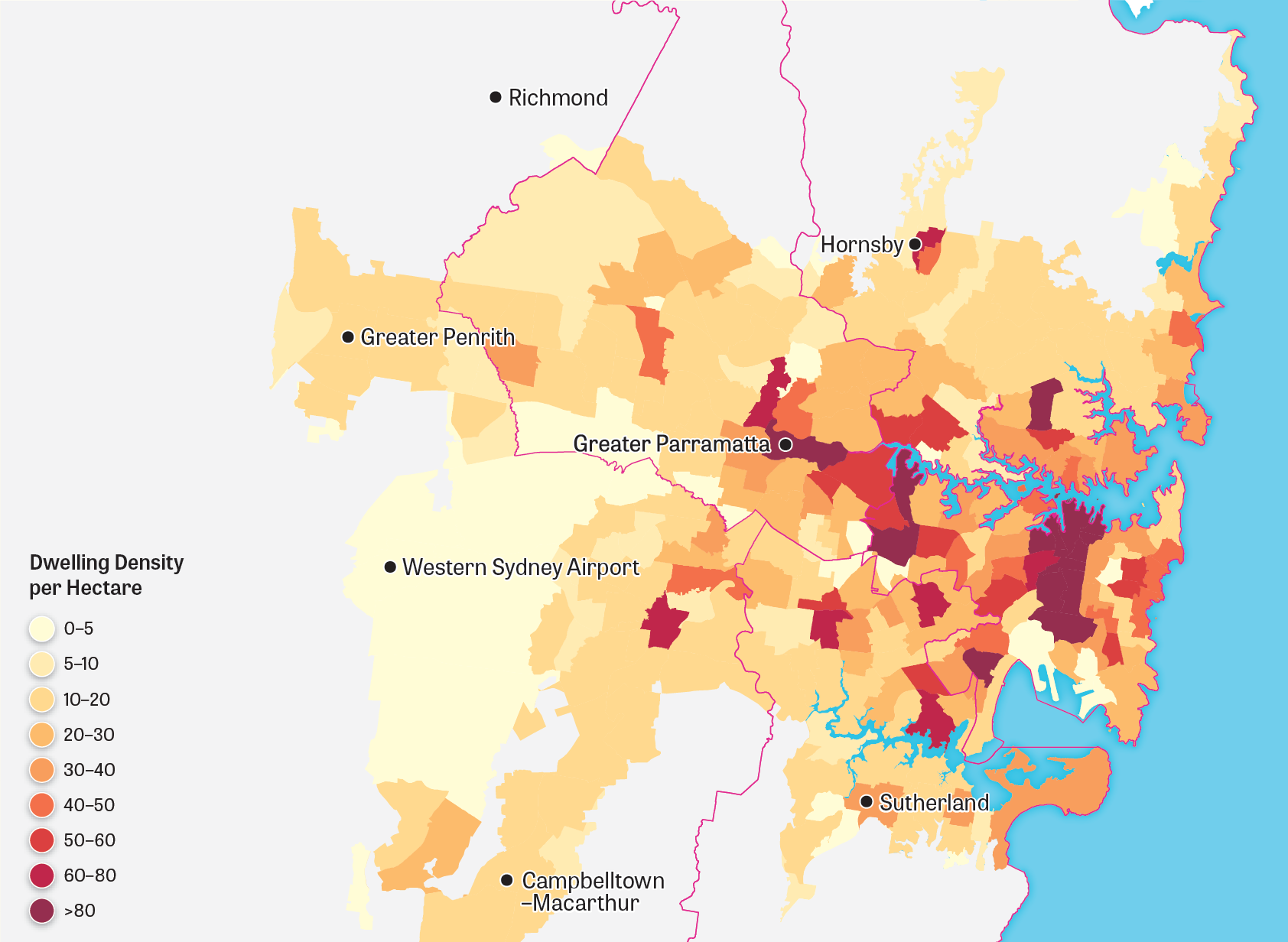 Map showing Greater Sydney's urban landform for 2036.