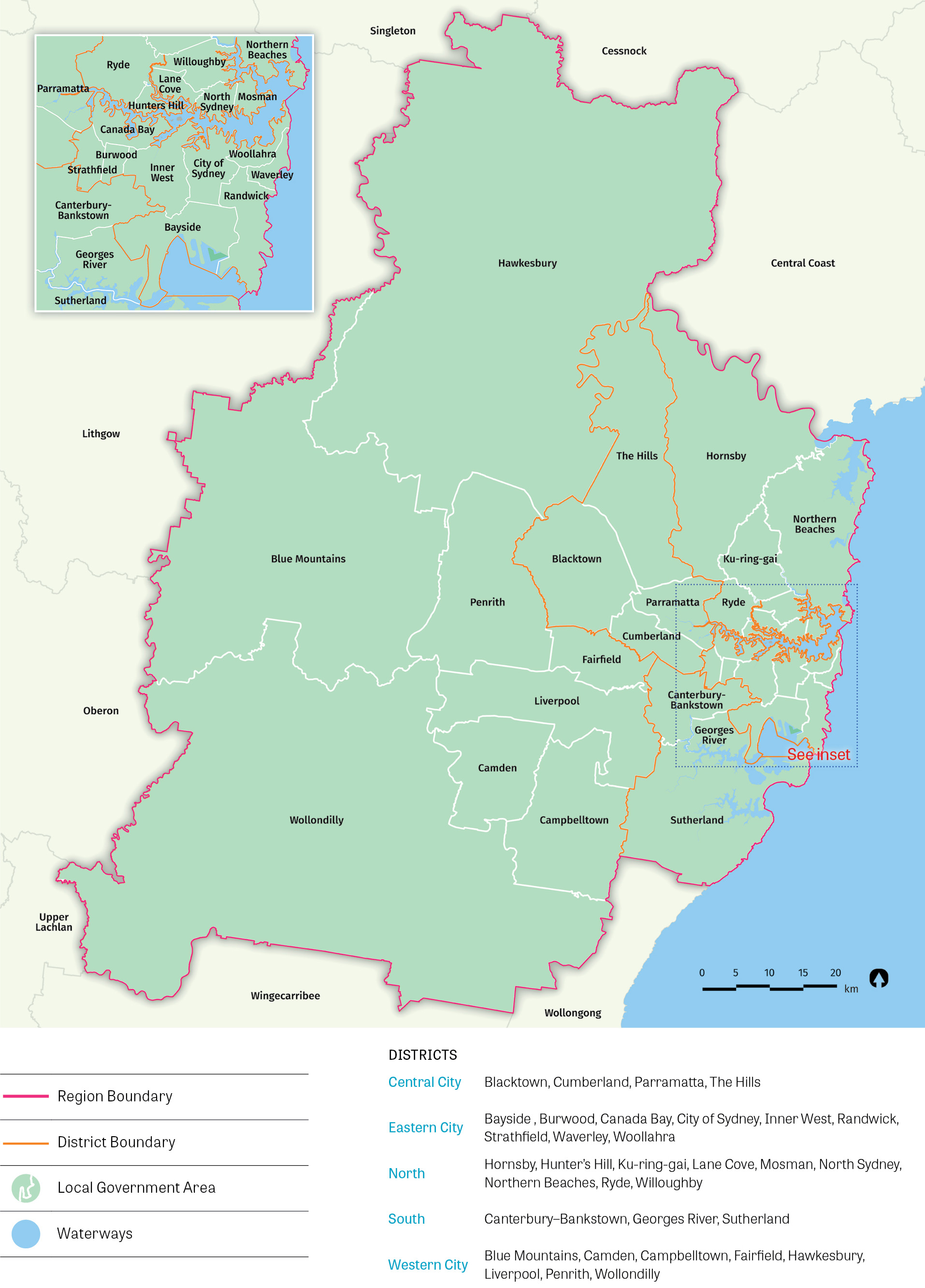 Map of the local government areas that comprise Greater Sydney.