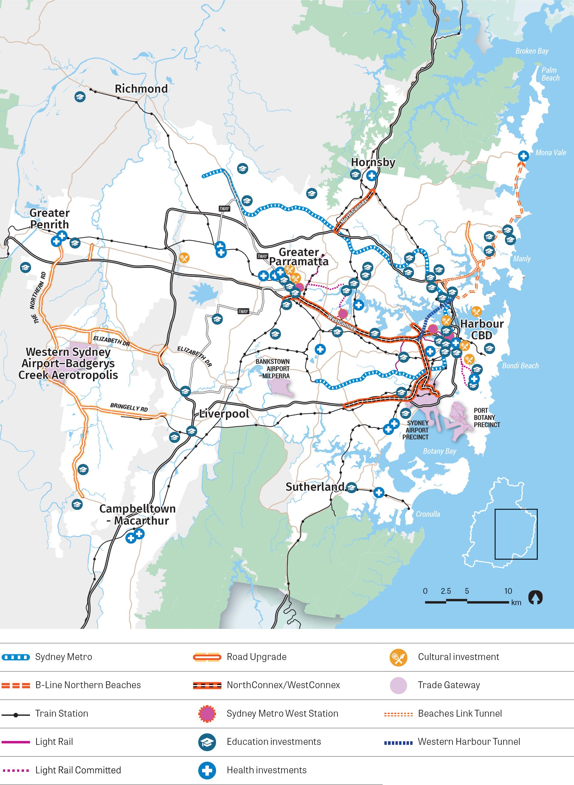 Figure 8: Map showing existing infrastructure investment in Greater Sydney including various modes of transport such as Sydney Metro, Light Rail, B-Line Northern Beaches and NorthConnex/WestConnex.