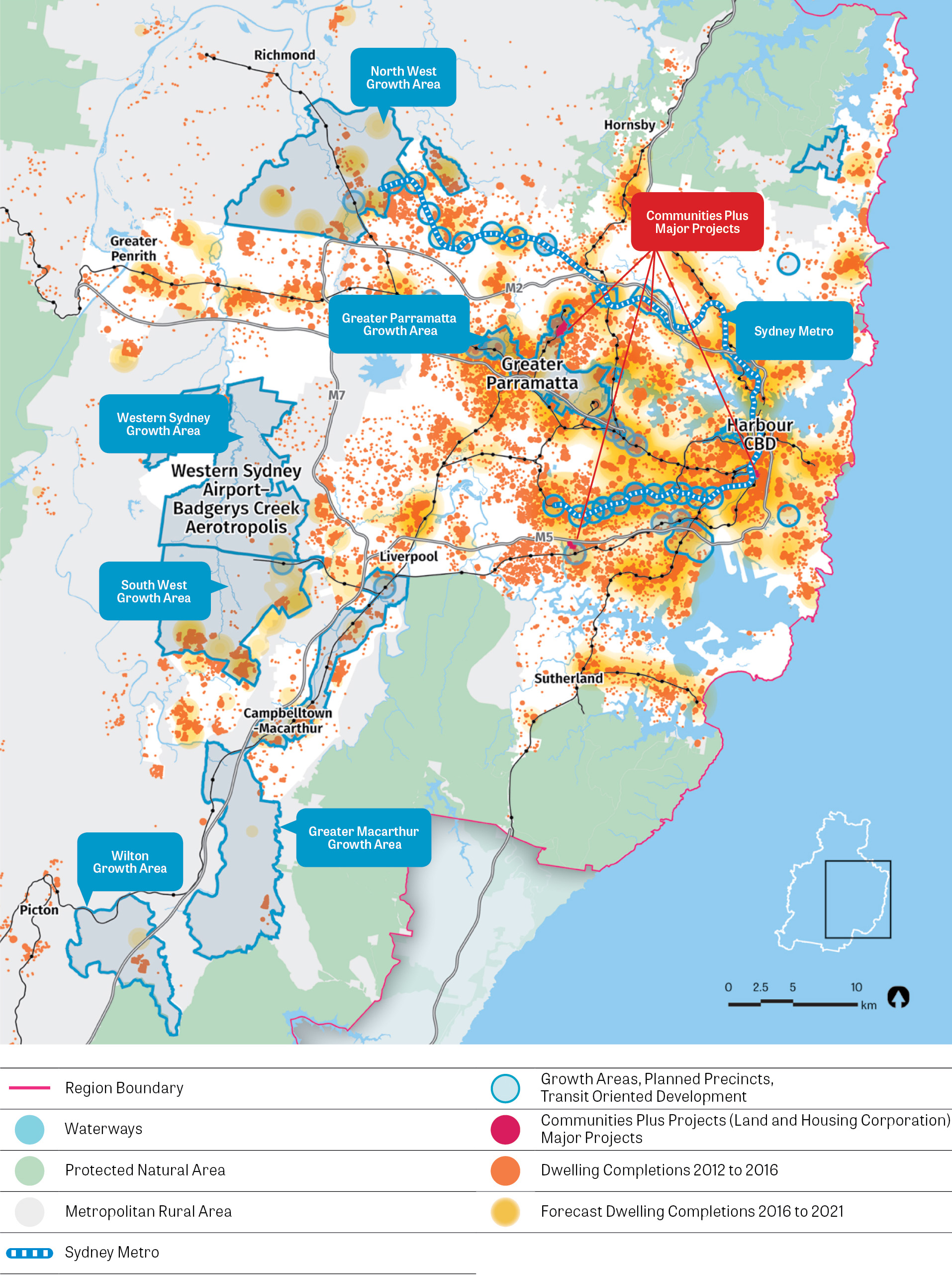 Map of historic and future housing supply including Growth Areas, Planned Precincts, Transit Oriented Development, Communities Plus Projects (Land and Housing Corporation) Major Projects and Forecast Dwelling Completions