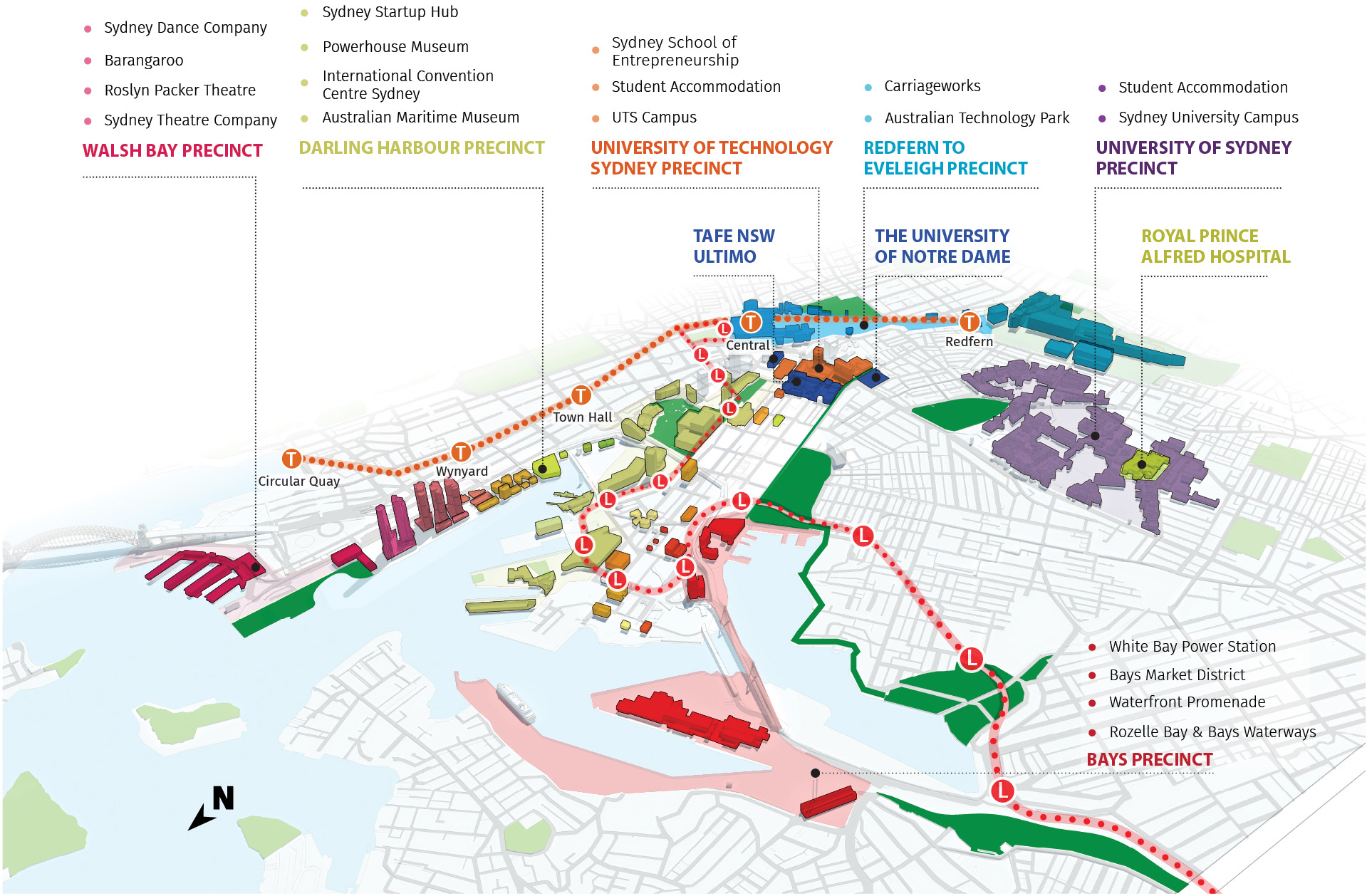 Figure 32: Diagram showing Innovation Corridor in the Harbour CBD.