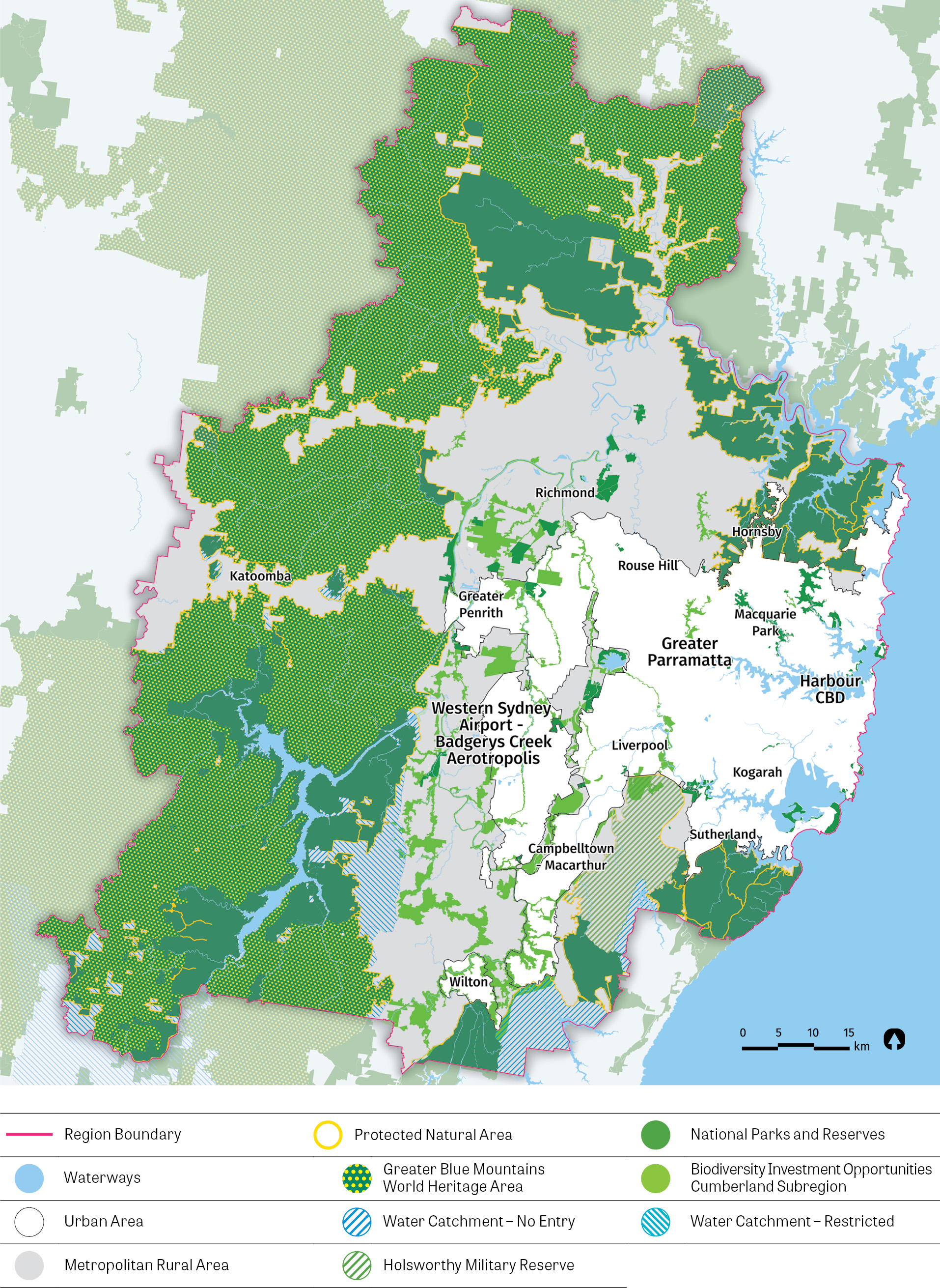 Map showing Protected Natural Area and Metropolitan Rural Area - including Water Catchments, Waterways, National Parks and Biodiversity Investment Opportunitities.