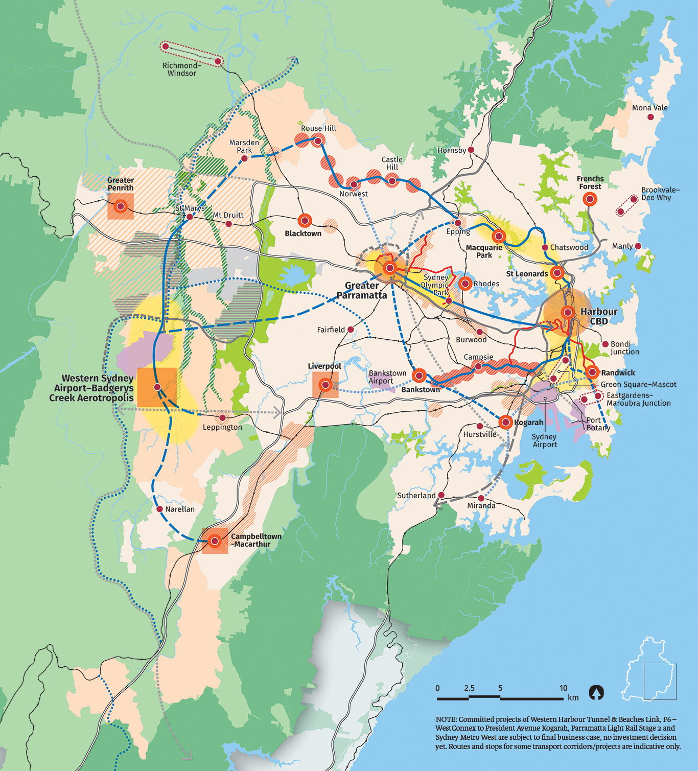 Map showing zoomed in detail of the structure Plan for Greater Sydney.