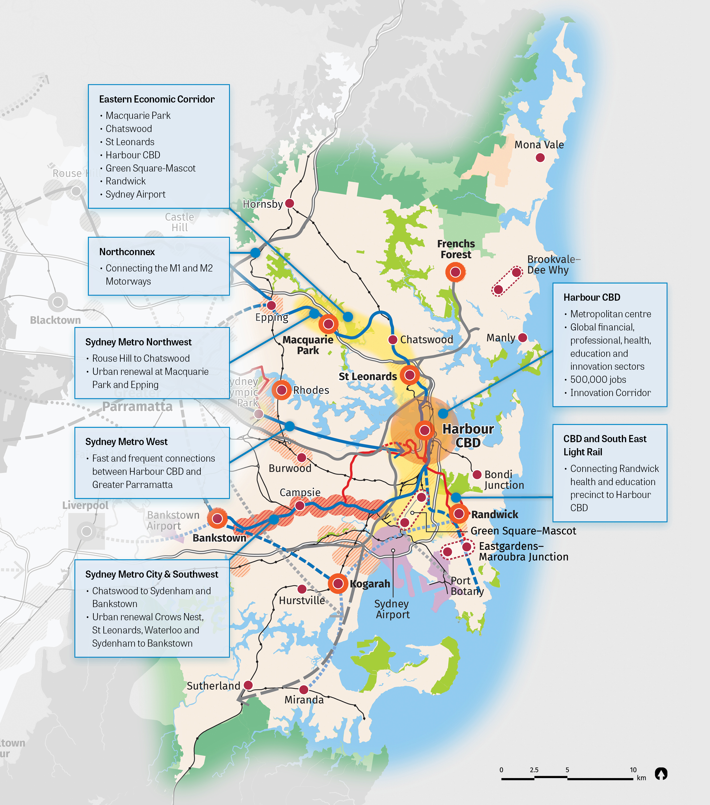 Map detailing the Eastern Harbour City vision