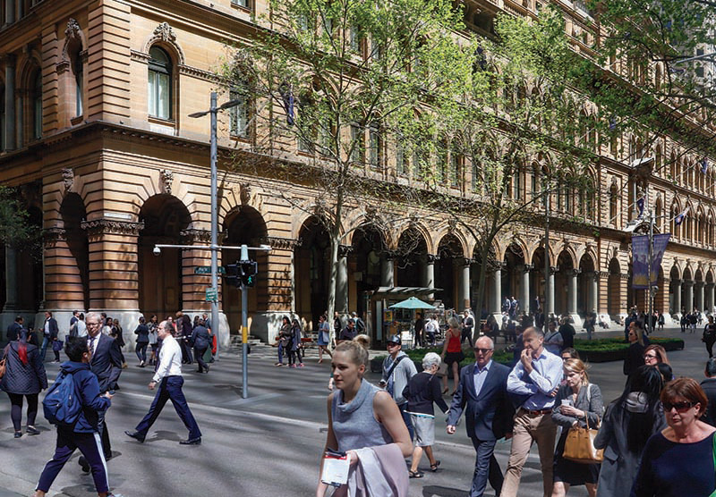 Pedestrians walking in Martin Place