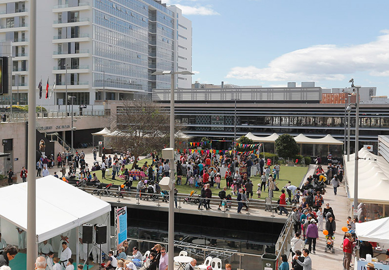 Community gathering on a rooftop in Chatswood