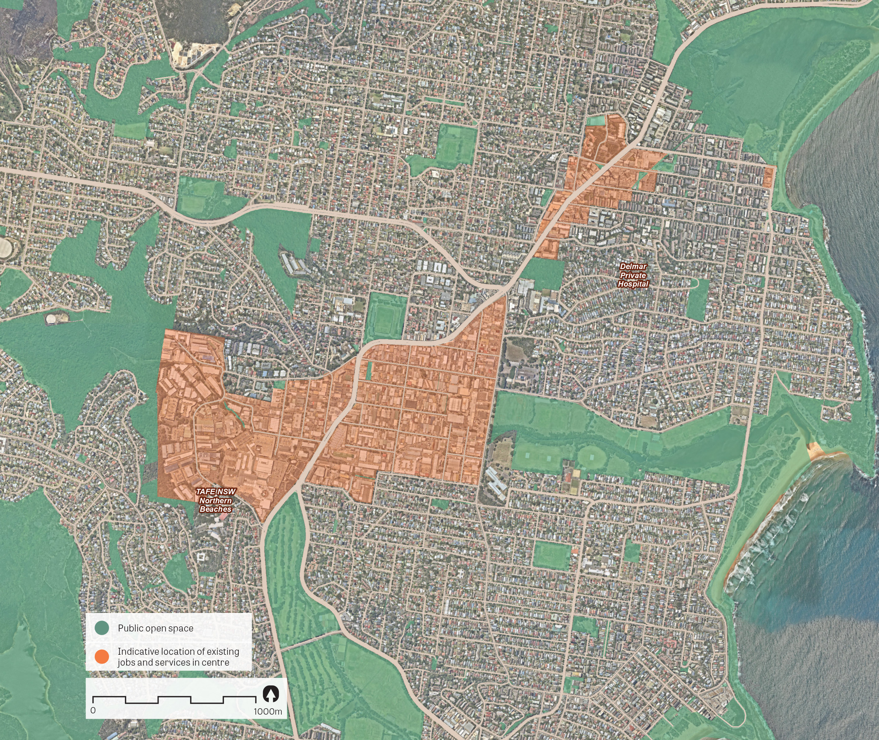 An aerial image of Brookvale-Dee Why showing the principal areas containing jobs and services.