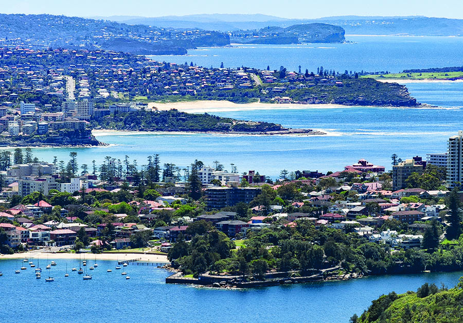 Aerial view over the northern beaches