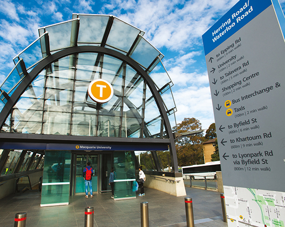 A photo of Macquarie University train station entrance.