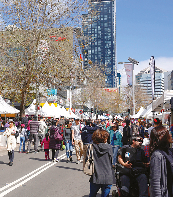 A photo of a crowded street fair in Victoria Avenue in Chatswood.