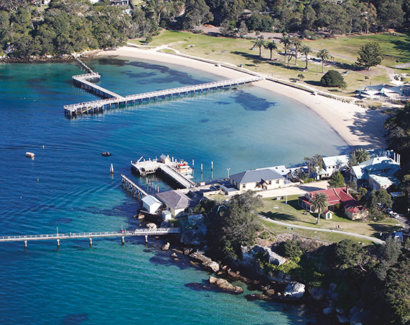 An aerial photograph showing Chowder Bay at Clifton Gardens.